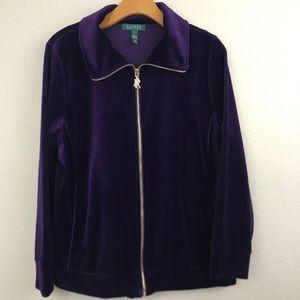 Ralph Lauren | plus size velour full zip jacket